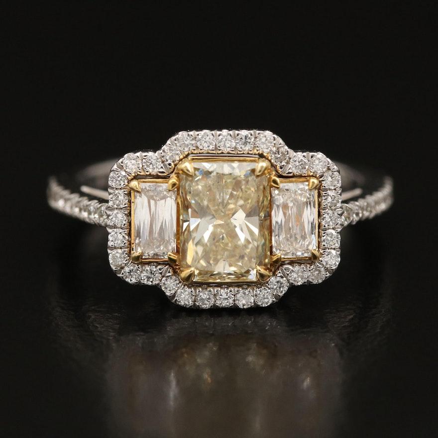 18K 1.95 CTW Yellow Diamond and Diamond Ring