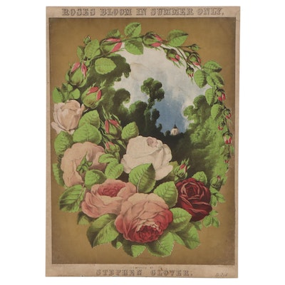 """Lithograph Sheet Music Cover """"Roses Bloom in Summer Only"""""""