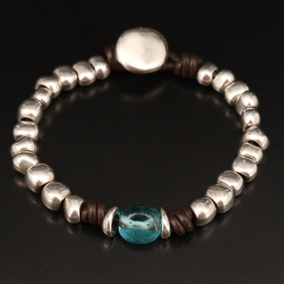 UNO de 50 800 Silver Glass and Faux Leather Beaded Bracelet