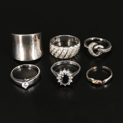 Assorted Sterling Silver Rings Featuring Elle and Pandora Love Knot Ring