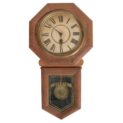 """E.N. Welch """"Star Pointer"""" Regulator Wall Clock, Late 19th to Early 20th Century"""