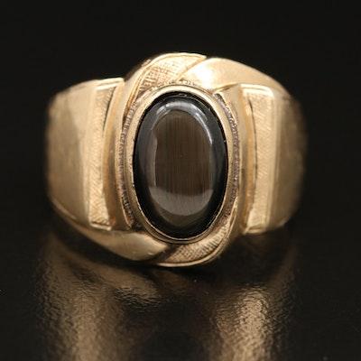 14K Black Star Sapphire Ring