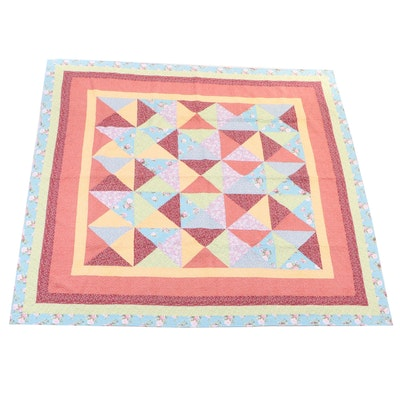 Floral Patterned Triangle Block Cotton Quilt