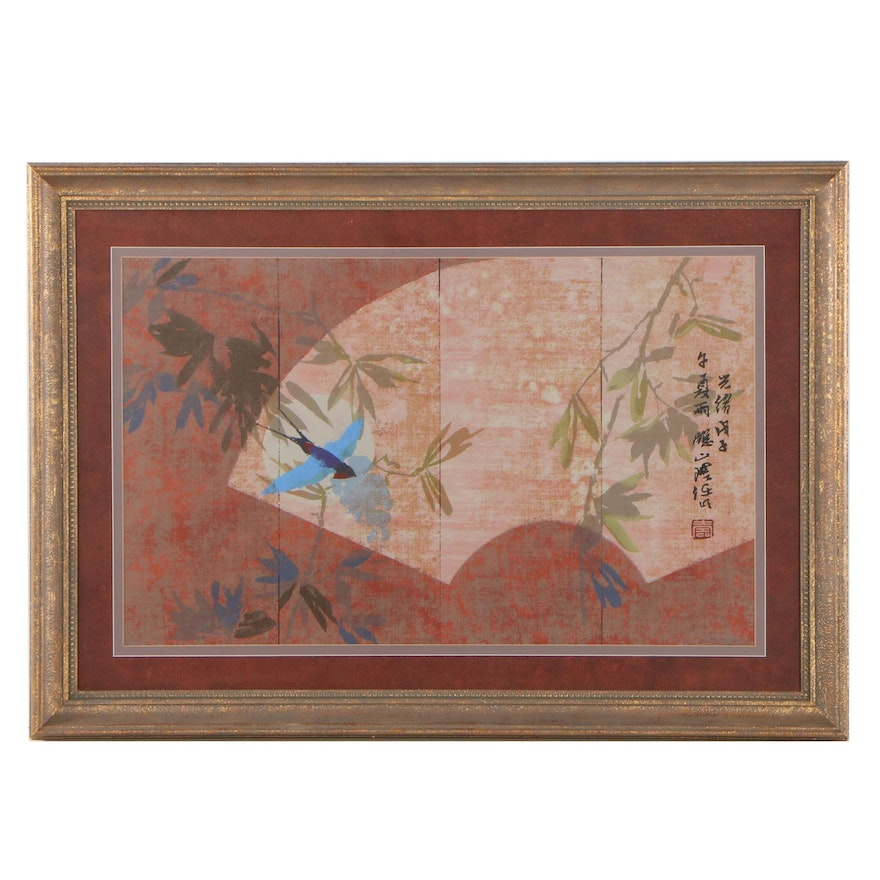 Chinese Style Serigraph of Bird in Flight