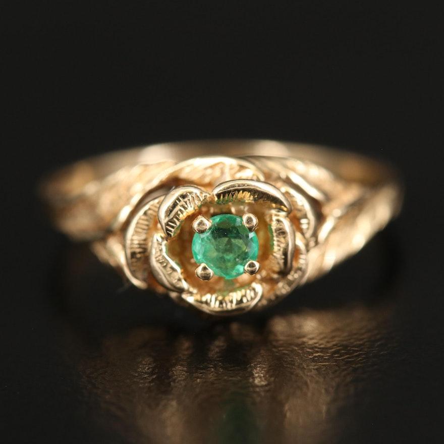14K Emerald Flower Ring