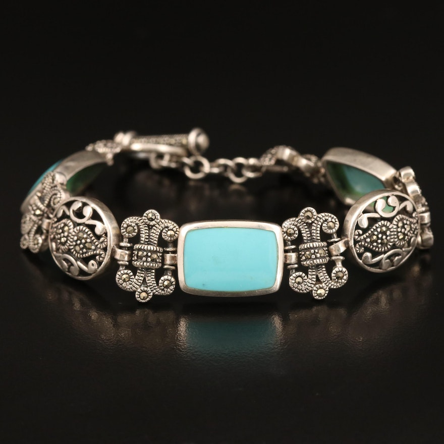 Sterling Faux Turquoise and Marcasite Bracelet