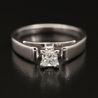 14K 0.31 CT Diamond Solitaire Ring with Platinum Cathedral Setting