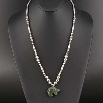 Southwestern Style Moss Agate Fetish Bear Necklace