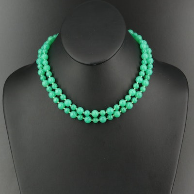 Chrysoprase Beaded Necklace with 14K Clasp