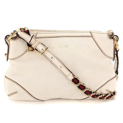 Gucci White Leather Web and Chain Strap Shoulder Bag