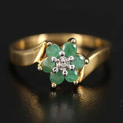 Sterling Emerald and Diamond Bypass Ring