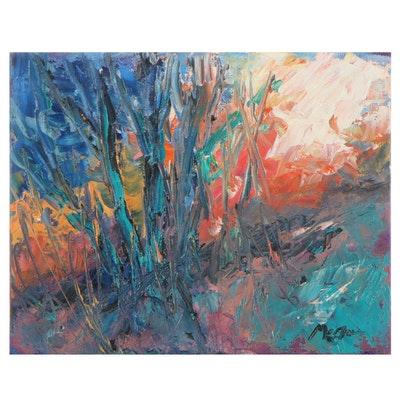 """Claire McElveeen Oil Painting """"Hot Forest Light,"""" 2021"""
