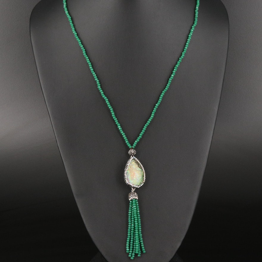 Marcasite and Glass Sautoir Necklace