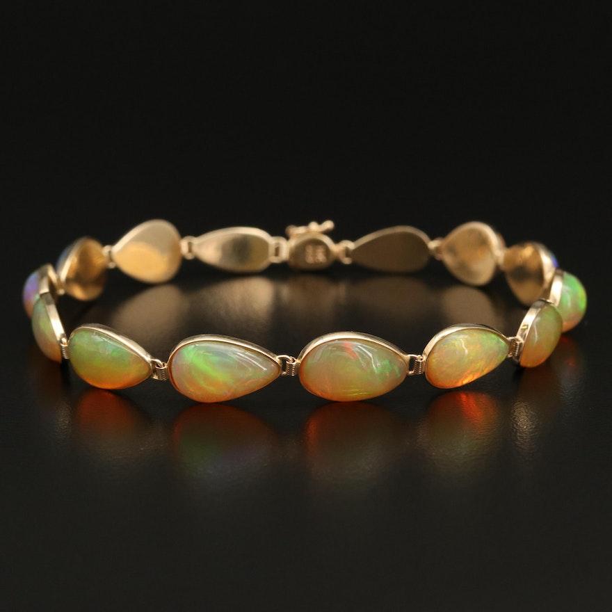 14K Bezel Set Opal Link Bracelet
