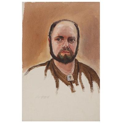 Edmond J. Fitzgerald Watercolor Portrait of Man, 1979