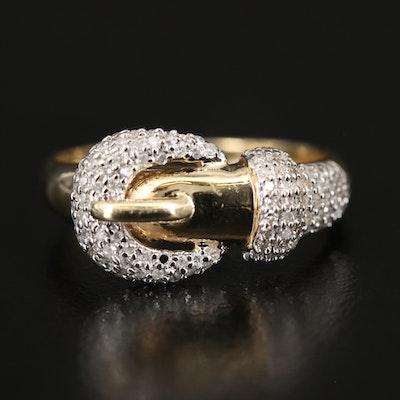 14K Diamond Buckle Ring