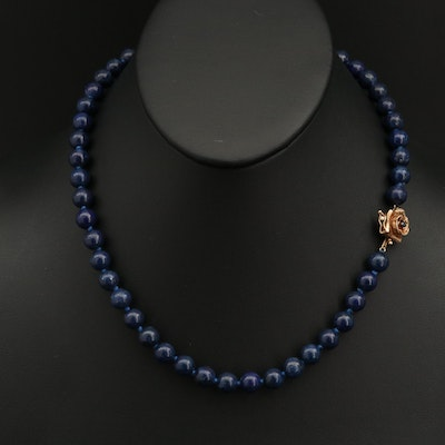 Vintage Lapis Lazuli Beaded Necklace with 14K Sapphire Flower Clasp