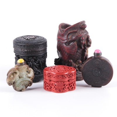 Chinese Carved Serpentine, Cinnabar and Resin Snuff Bottles