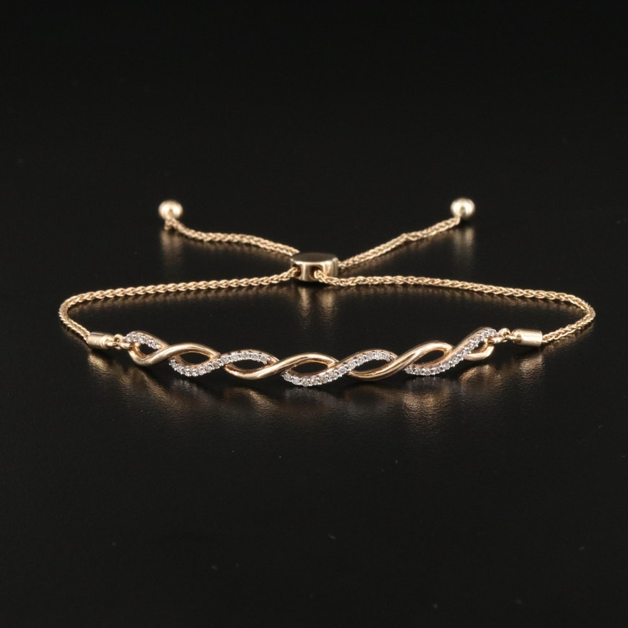 10K Diamond Bolo Bracelet with Twisted Design