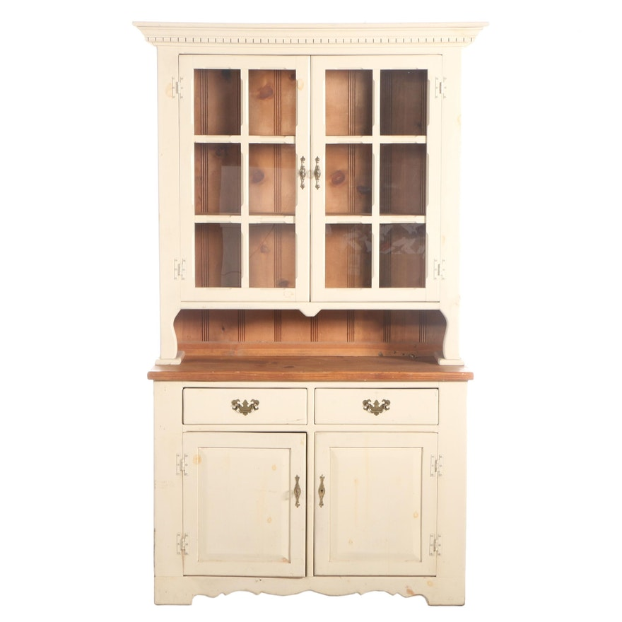 American Primitive Style White-Painted and Pine Stepback Cabinet