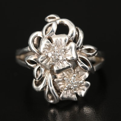 Sterling Diamond Floral Ring