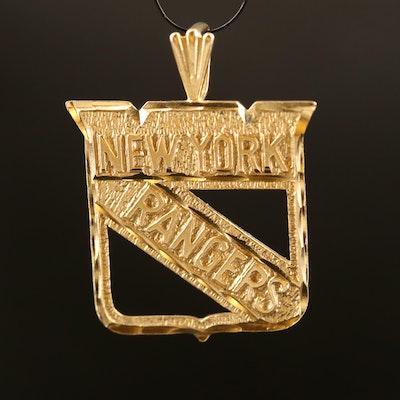 14K New York Rangers Hockey Pendant