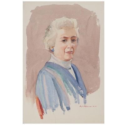 Edmond J. Fitzgerald Watercolor Portrait of Elderly Woman