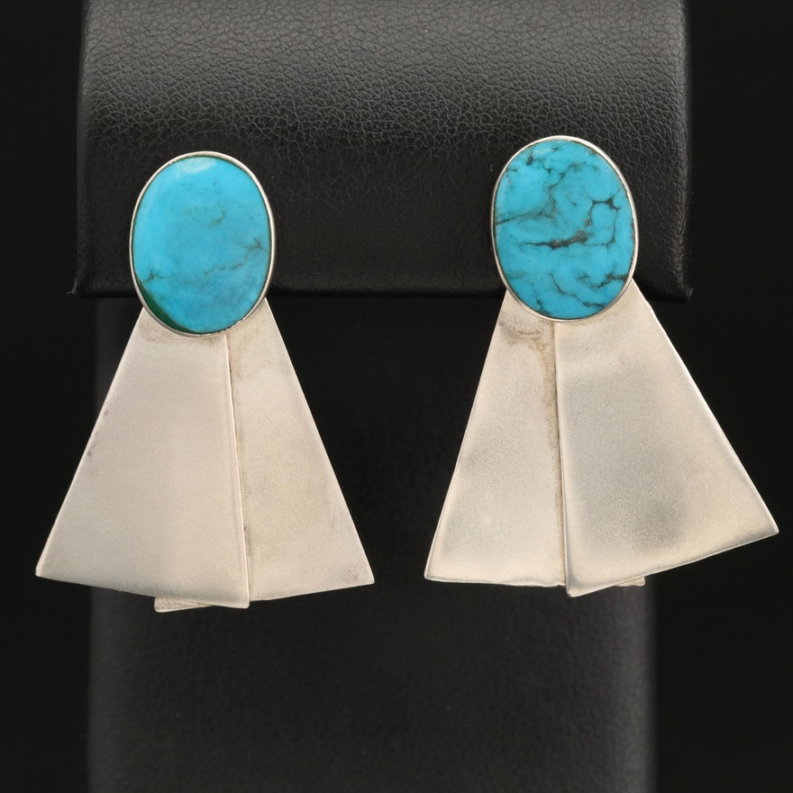 Sterling Silver Imitation Turquoise Earrings
