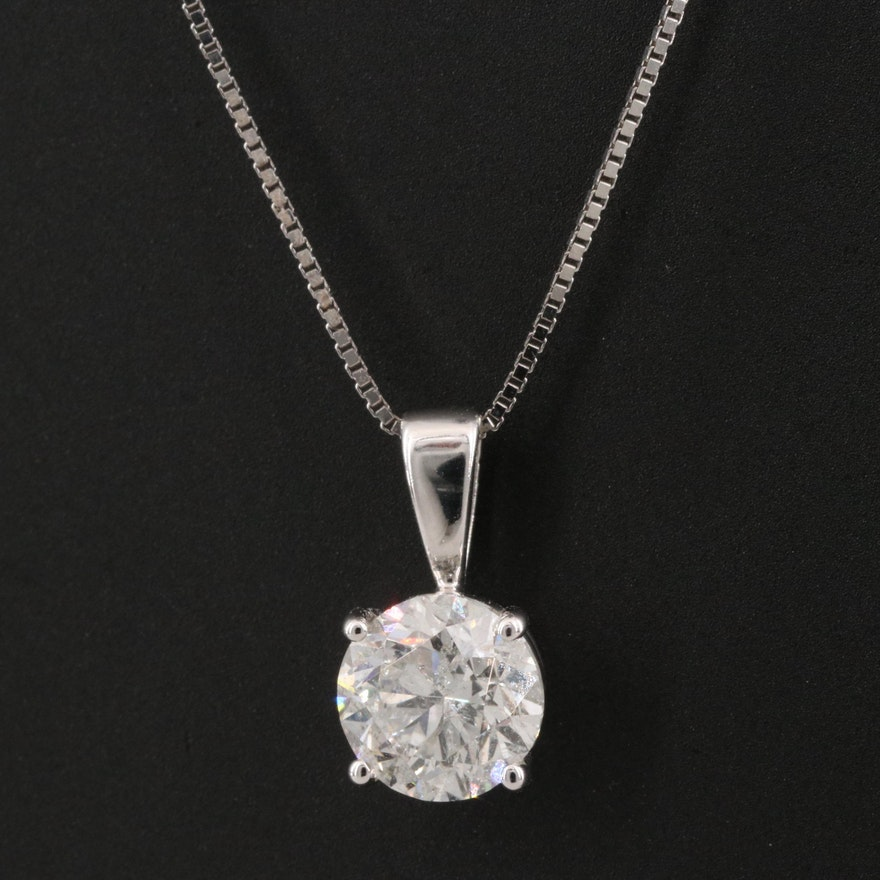 14K 0.98 CT Diamond Pendant Necklace