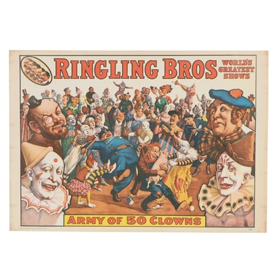 Ringling Brothers Offset Lithograph Poster, Mid-20th Century