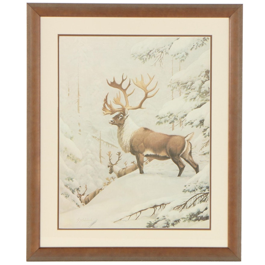 """Guy Coheleach Offset Lithograph """"Caribou,"""" Late 20th Century"""