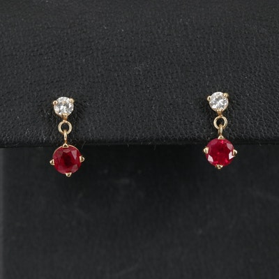 14K Diamond and Ruby Earrings