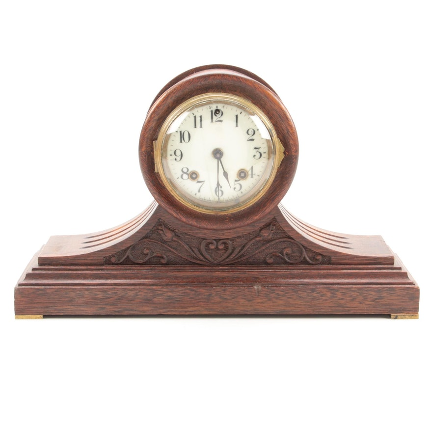 Ansonia Clock Co. Carved Walnut Tambour Mantel Clock, Early 20th Century