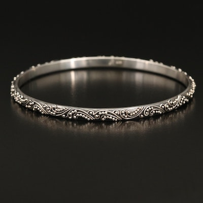 Lois Hill Sterling Silver Bangle with Granulated Detail