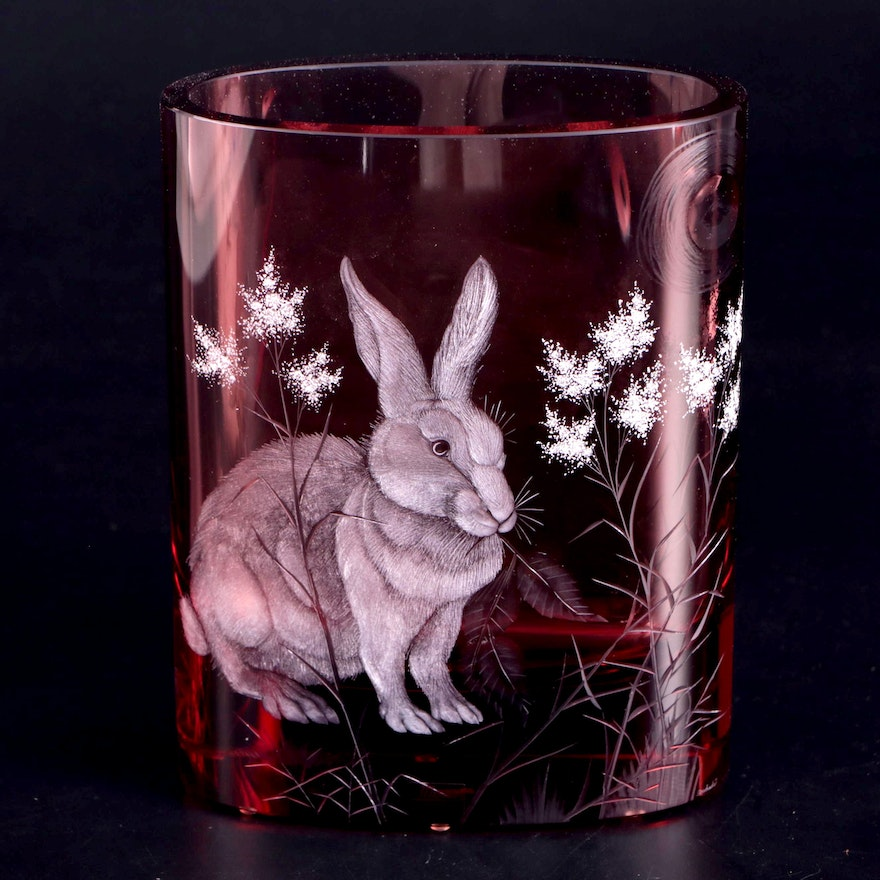 Moser Rabbit Motif Cranberry Cut to Clear Glass Vase