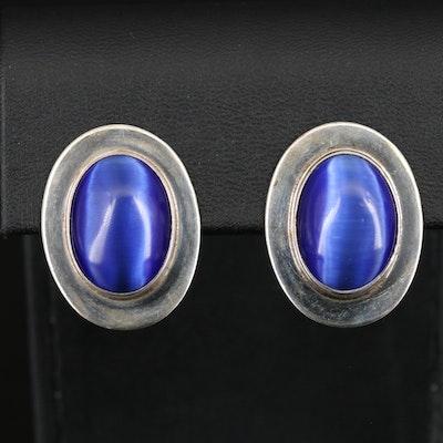 Mexican Sterling Cat's Eye Earrings