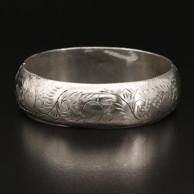 Sterling Silver Engraved Bangle Bracelet