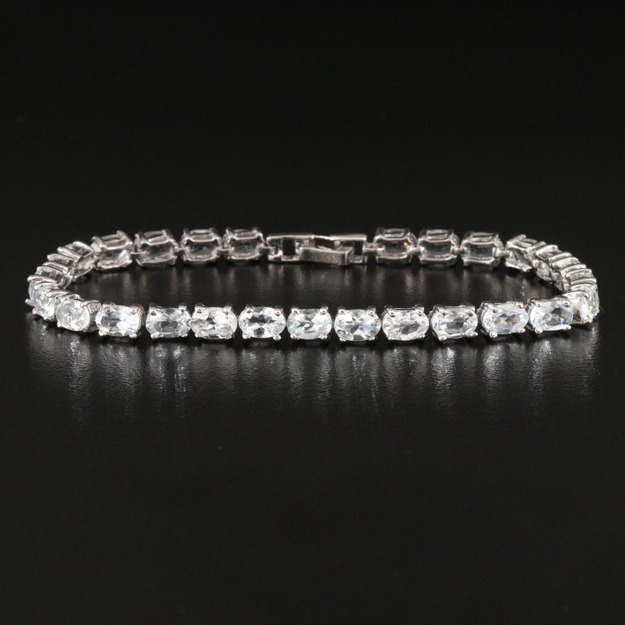 Sterling Silver Aquamarine Line Bracelet