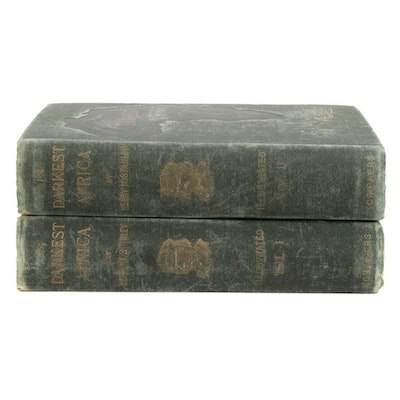 """Illustrated """"In Darkest Africa"""" by Henry M. Stanley Two-Volume Set, 1890"""