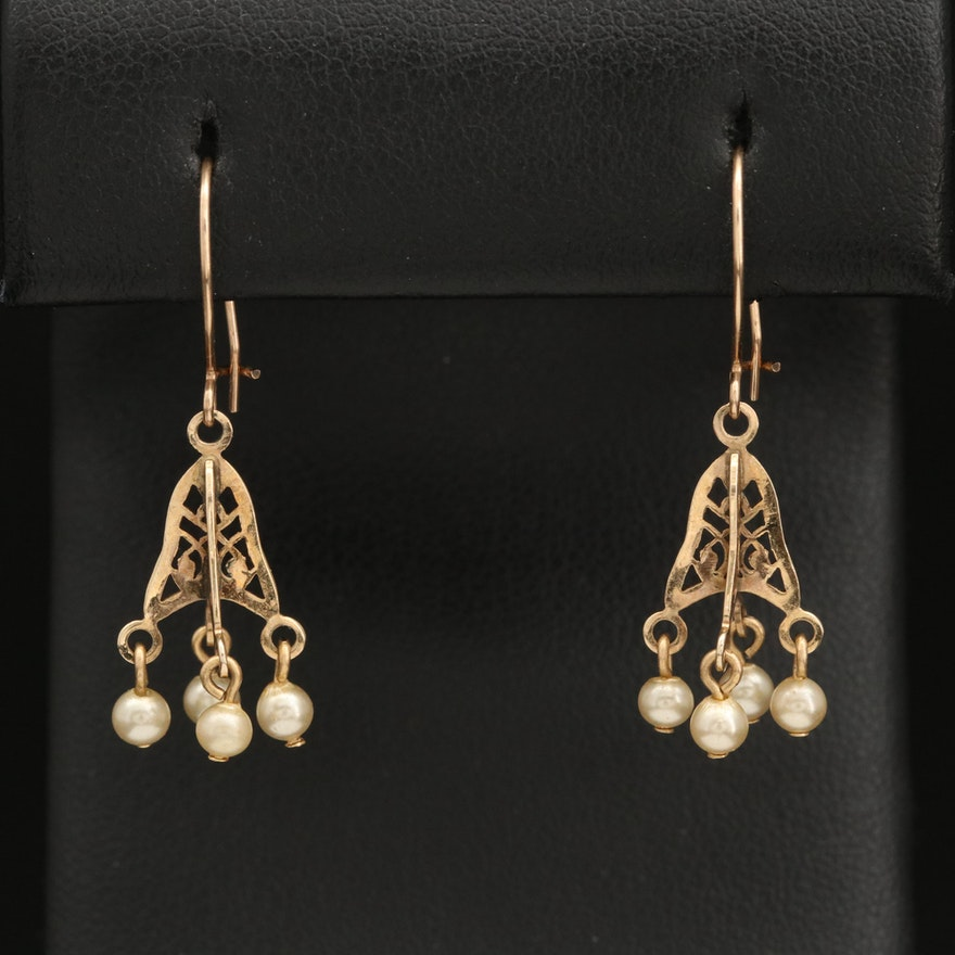 Vintage 10K Imitation Pearl Earrings with Cut Out Detail