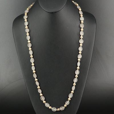 14K Fluted Quartz Bead Necklace