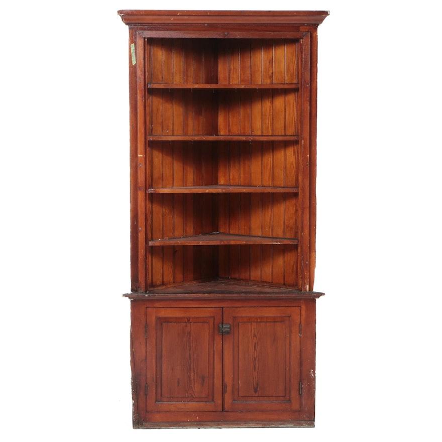 Victorian Yellow Pine Wainscot Corner Cabinet, Late 19th Century