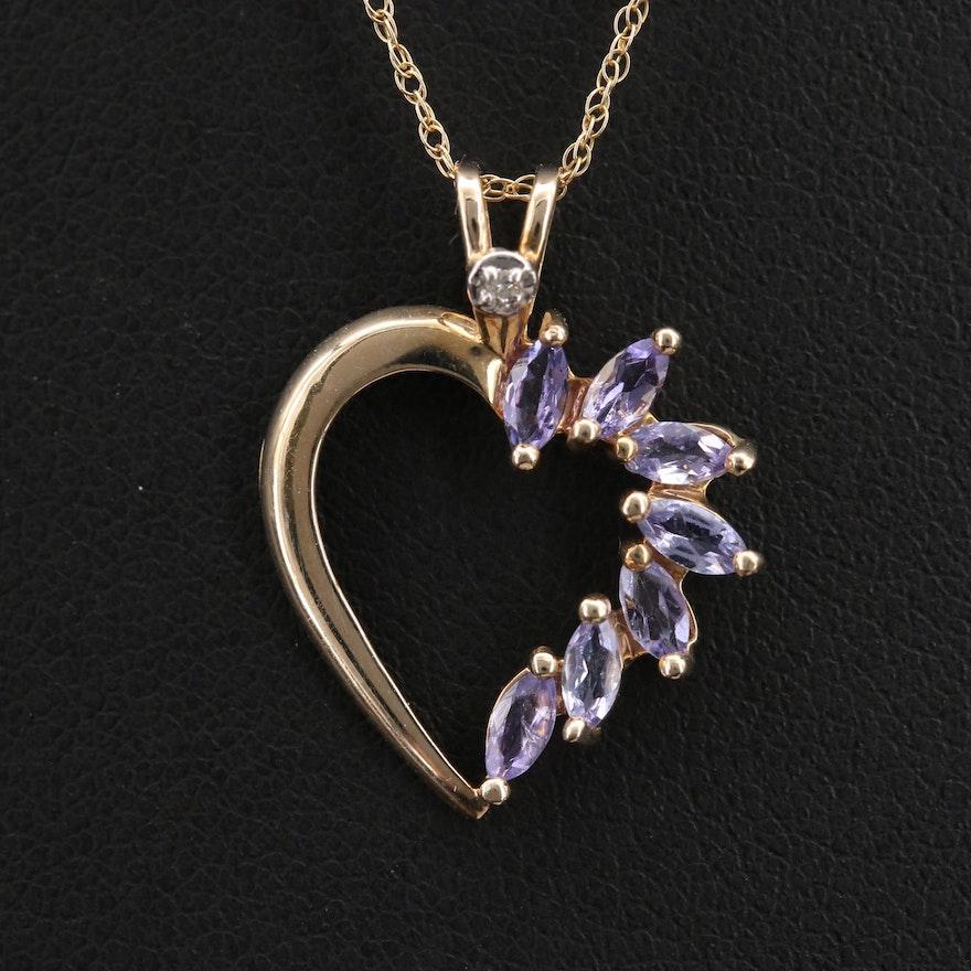 10K Tanzanite and Diamond Heart Pendant Necklace