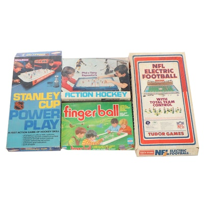 Tudor, Ideal, and Coleco Hockey and Football Electric Games in Original Boxes
