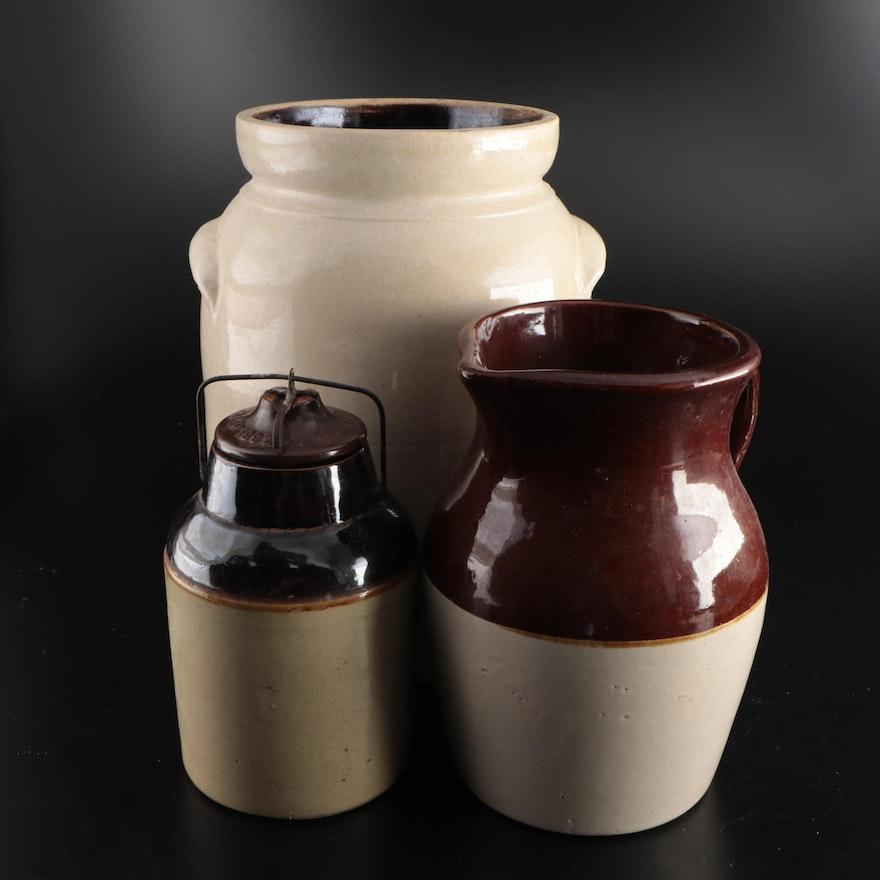 Primitive Salt Glazed Stoneware Crocks and Pitcher, Early to Mid 20th Century