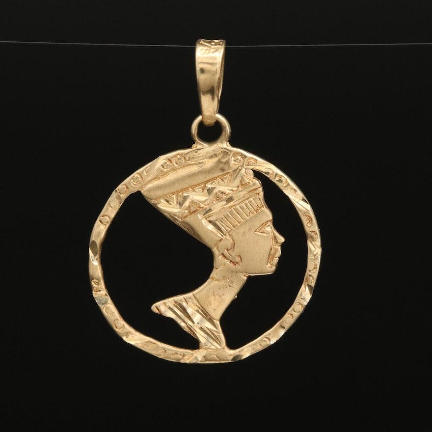 14K Nefertiti Pendant