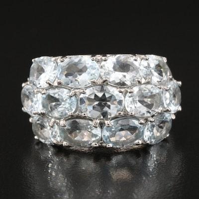 Sterling Silver Aquamarine Multi-Row Ring