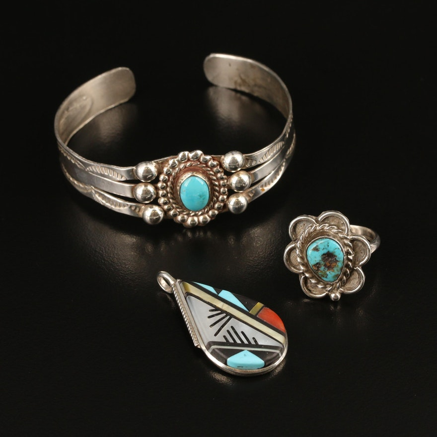 Southwestern Sterling Silver Jewelry with Turquoise, Mother of Pearl, and Coral