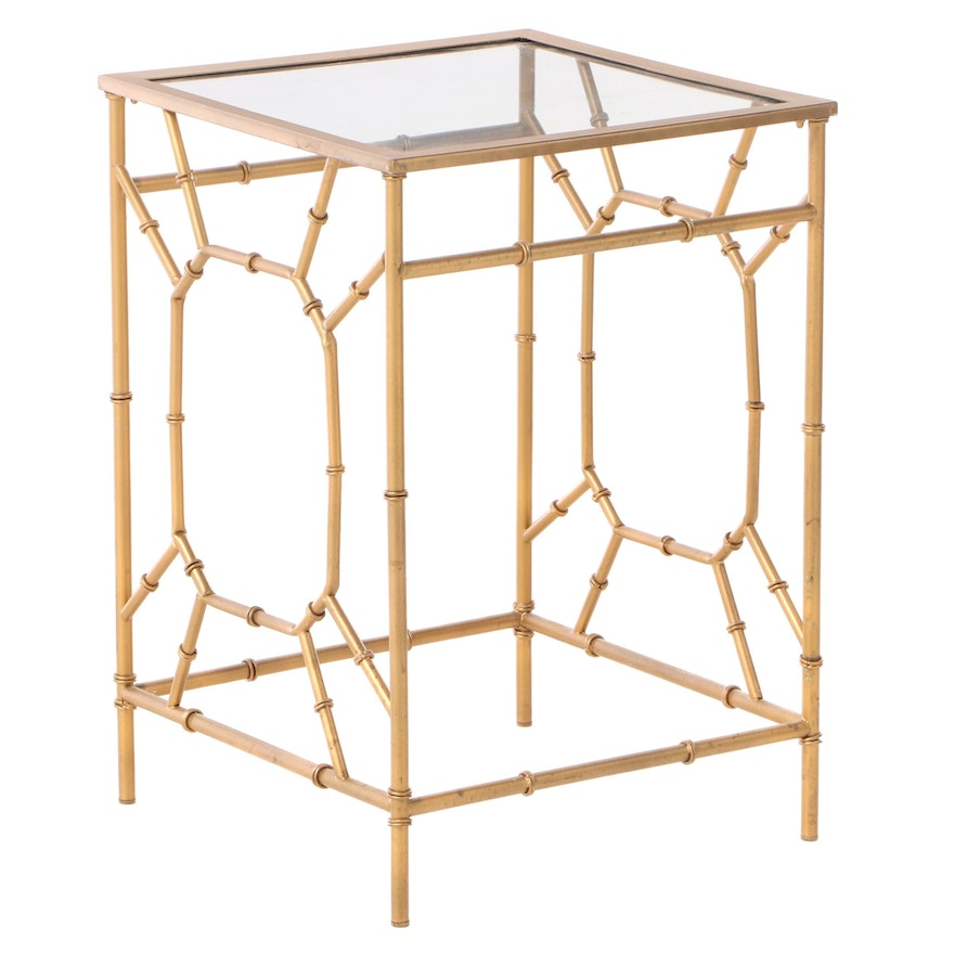 Faux-Bamboo Gilt Metal and Glass Top Side Table