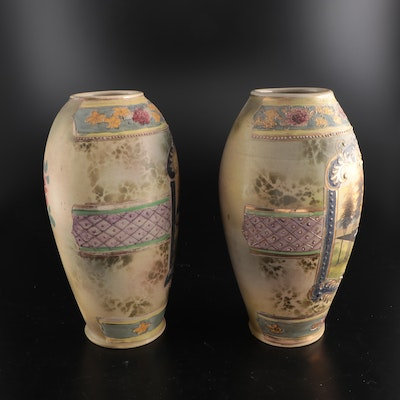Japanese Enameled Ceramic Scenic Vases with Floral Motif